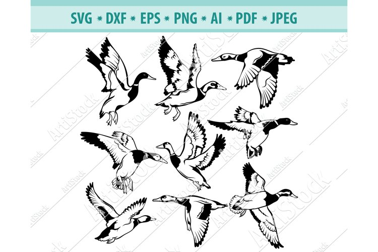 Flock of Birds SVG Vector, Flying ducks SVG, Dxf, Png, Eps example image 1