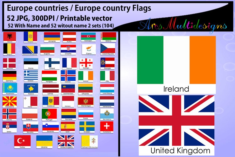 Europe countries / Europe country Flags / country flag / 300DPI / Vector flags / flag clipart and silhouette / printable flag/ digital flag example image 1
