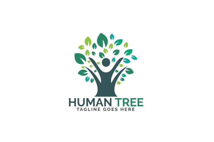 Human tree logo design. Healthy people tree logo.