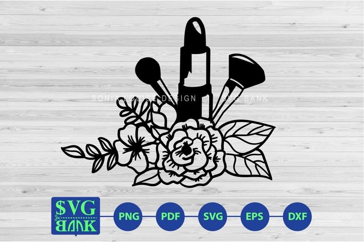Makeup tools with flower svg cut file example image 1
