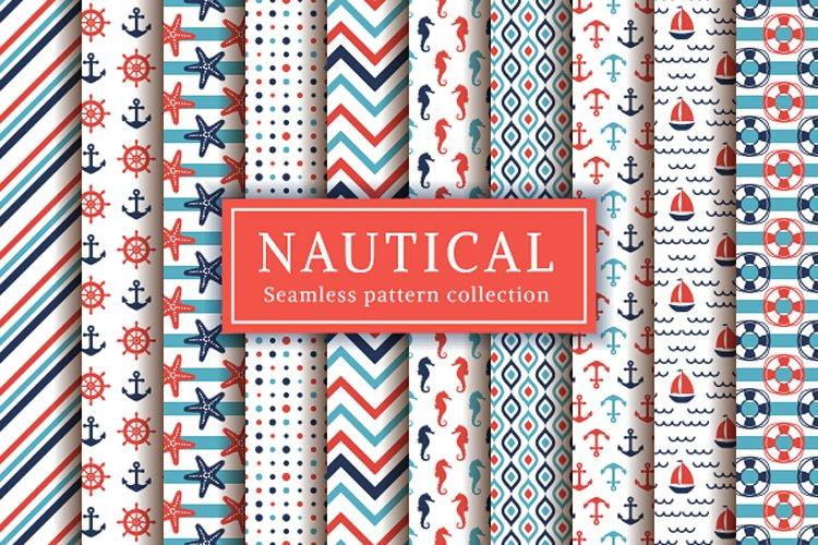 Nautical and sea seamless patterns