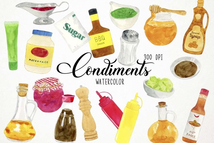 Watercolor Condiments Clipart, Condiments Clip Art, Sauces example image 1