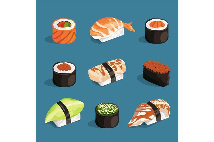 Set of classical asian food. White rice, sushi, salmon nori example image 1