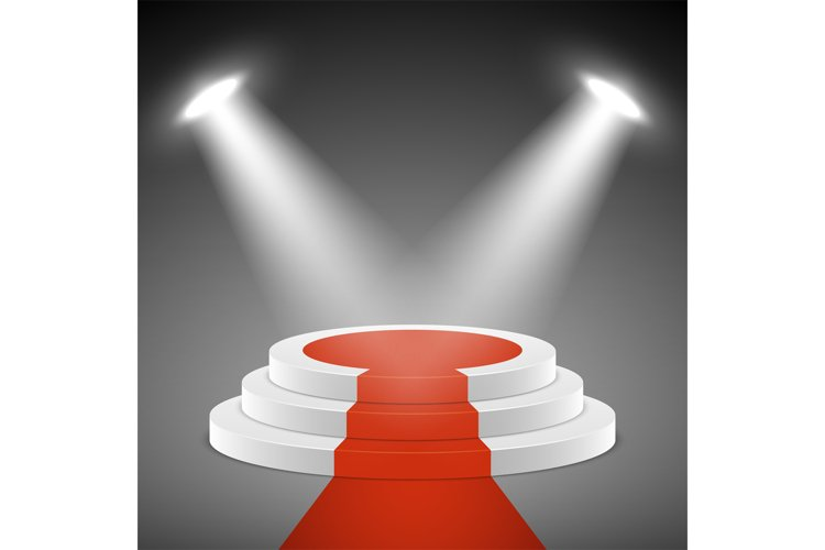 Spotlights illuminate stage pedestal with red carpet. Award example image 1