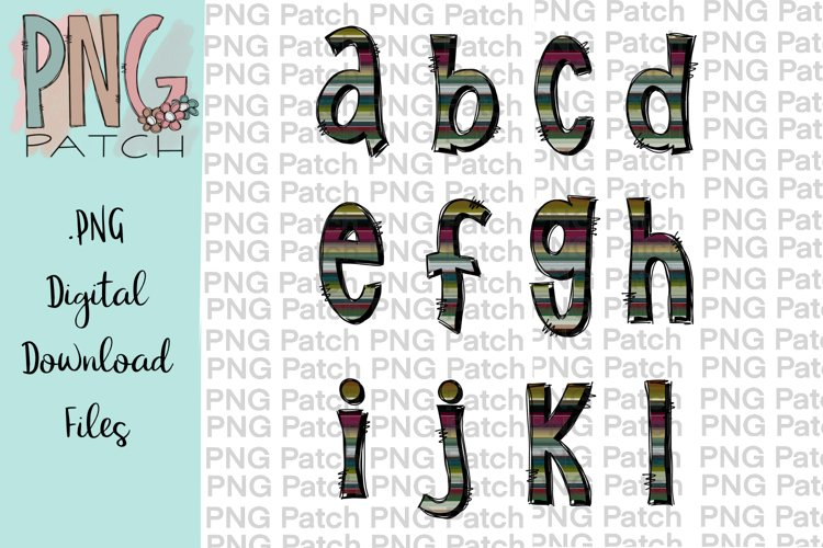 All Lower Case Serape Alpha Pack, Alphabet Pack PNG File example image 1