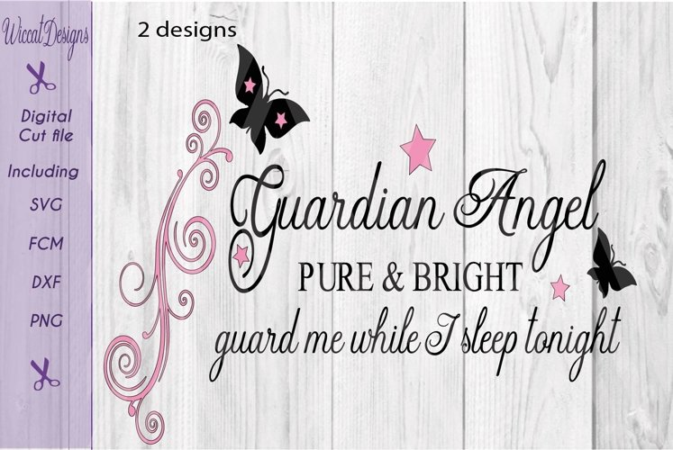 Guardian angel svg, Angel quote, Nursery wall svg, example image 1