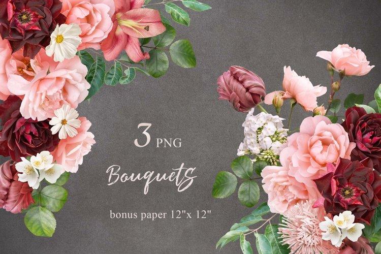 Bouquets of garden flowers clipart.