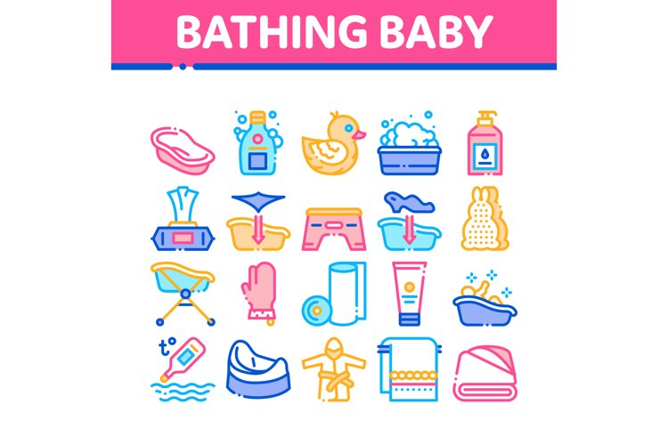 Bathing Baby Tool Collection Icons Set Vector example image 1