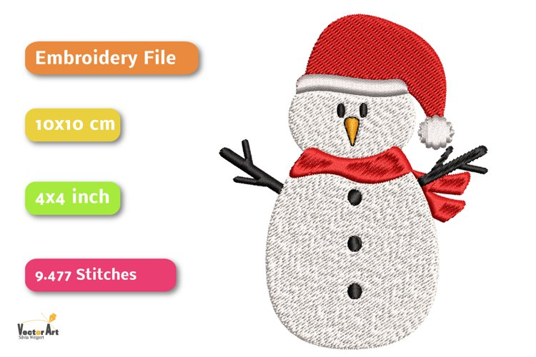 Snowman - Embroidery File - 4x4 inch example 1