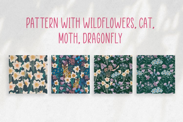 Patterns with wildflowers, cat, moth, dragonfly example image 1