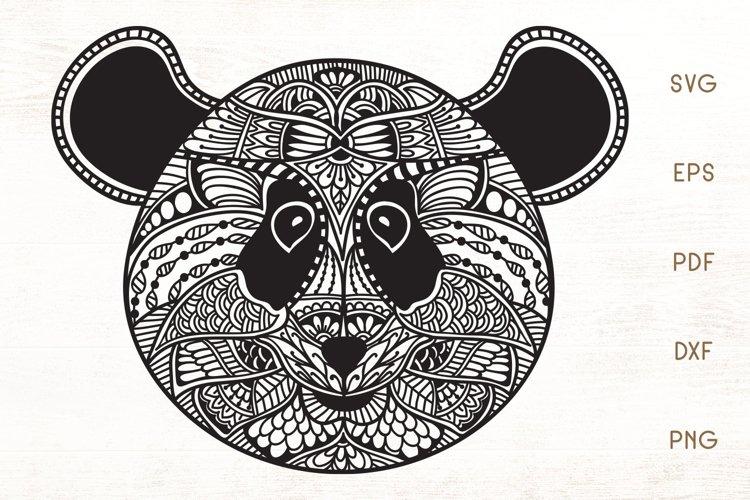 Zentangle Panda Head SVG - Doodle Art Panda example image 1