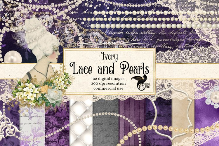 Ivory Lace and Pearls Digital Scrapbooking Kit example image 1