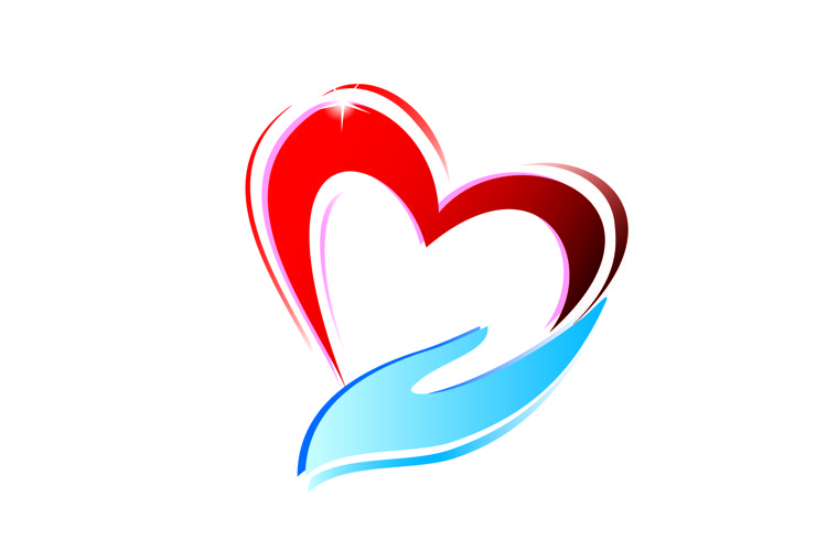 hand holding a heart icon, isolated vector symbol example image 1