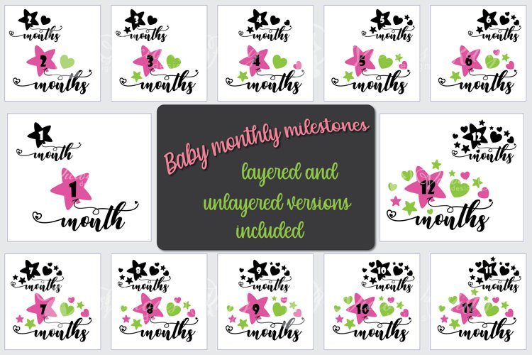 Baby milestone svg bundle, star balloons, 1 - 12 months example image 1
