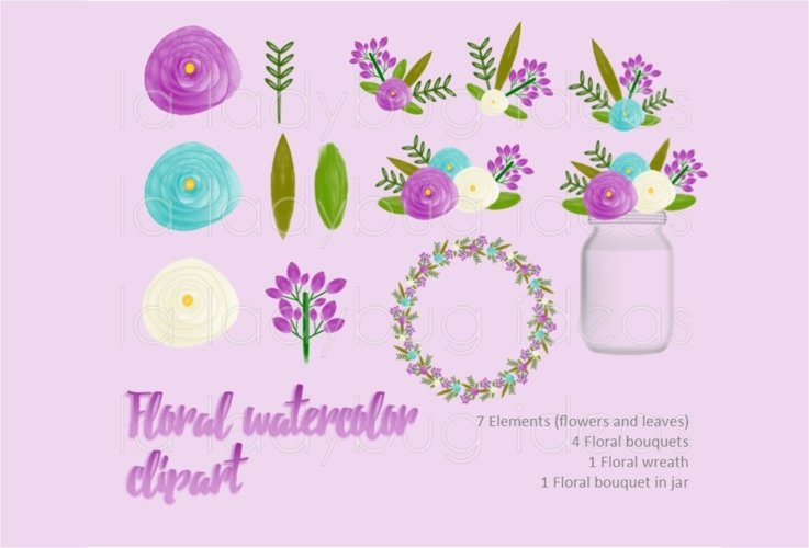 Purple and turquoise floral watercolor clip art collection.  example image 1