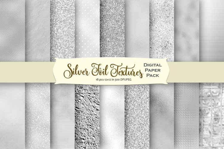 Silver Textures Digital Paper example image 1