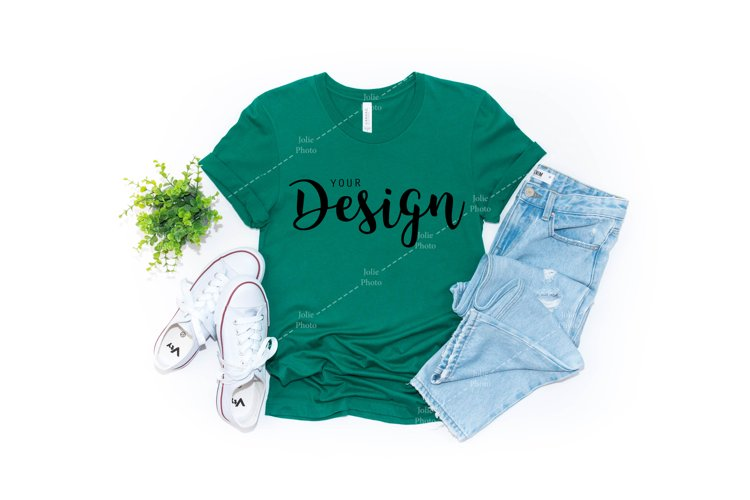 Bella Canvas Mockup 3001 Kelly Green T-shirt Unisex Tee example image 1