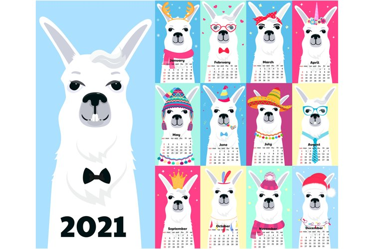Llama. Calendar for 2020 and 2021, planner, to do list example image 1