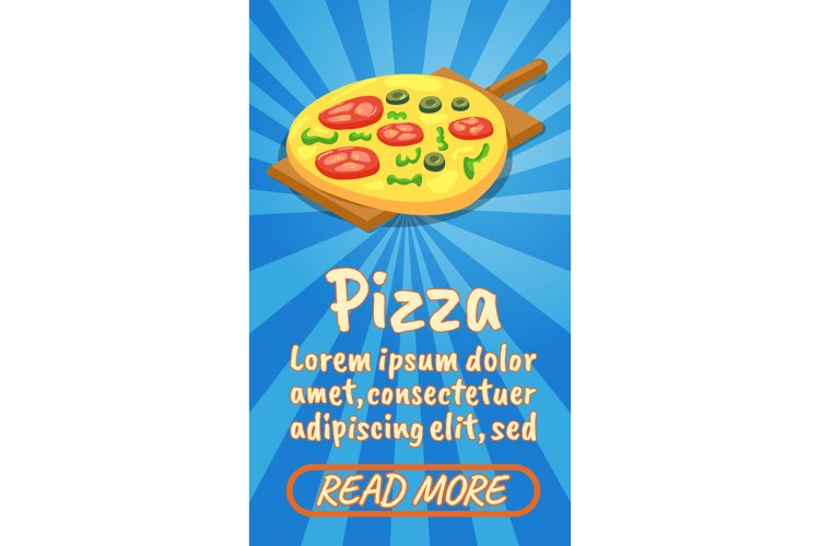 Pizza concept banner, comics isometric style example image 1