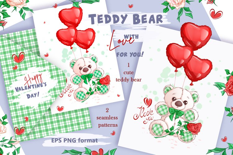 White Teddy Bear for Valentine's Day. Clipart and patterns. example image 1