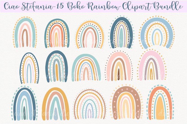 Boho Rainbows Clipart Bundle