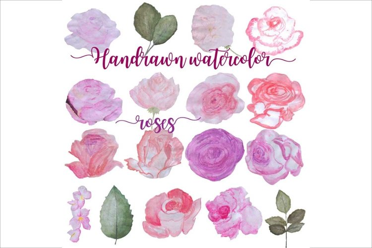 Hand Drawn Watercolor Roses Clipart example image 1