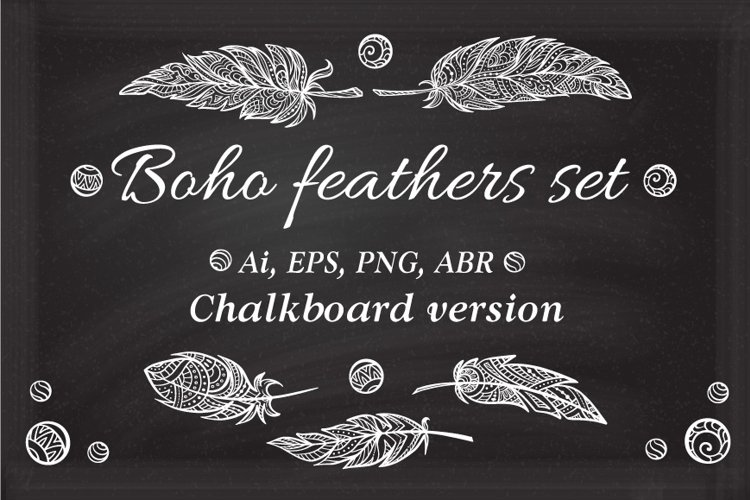 Boho feathers set. Chalkboard vercion.