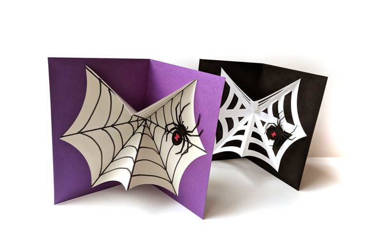 Black Widow Spider and Web Pop Up Card SVG PDF Design example image 1