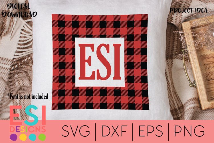Christmas |Buffalo Square Monogram Frame Design| SVG, DXF, E