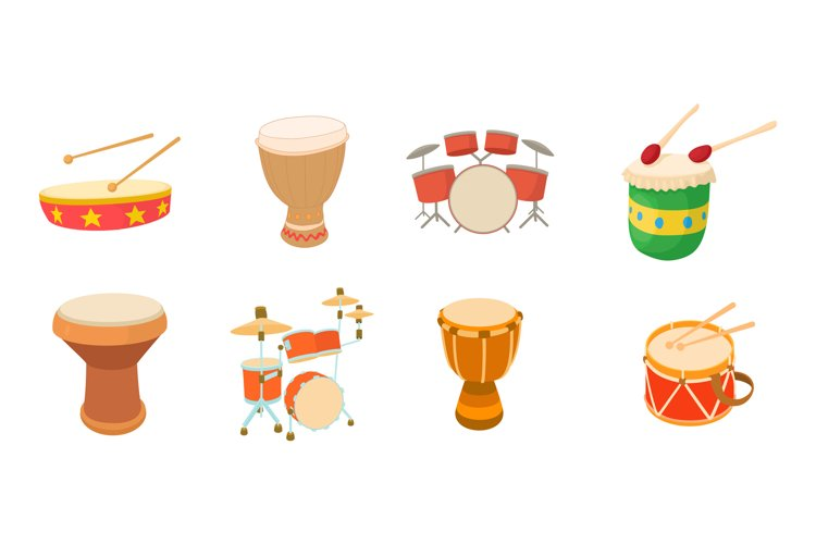 Drums icon set, cartoon style example image 1