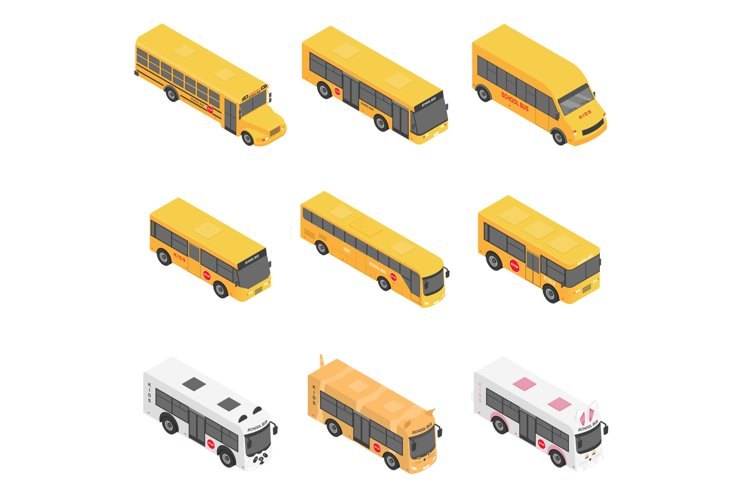 School bus back kids icons set, isometric style example image 1