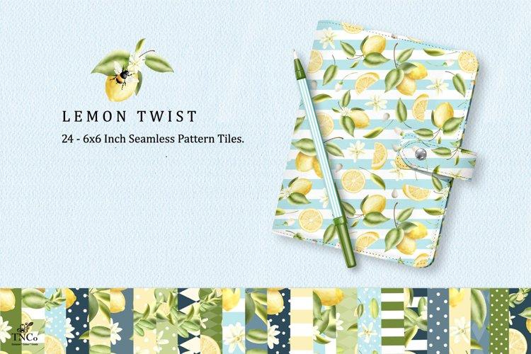 Lemon Fruit Seamless Pattern Tiles 6 x 6 Inches. example image 1