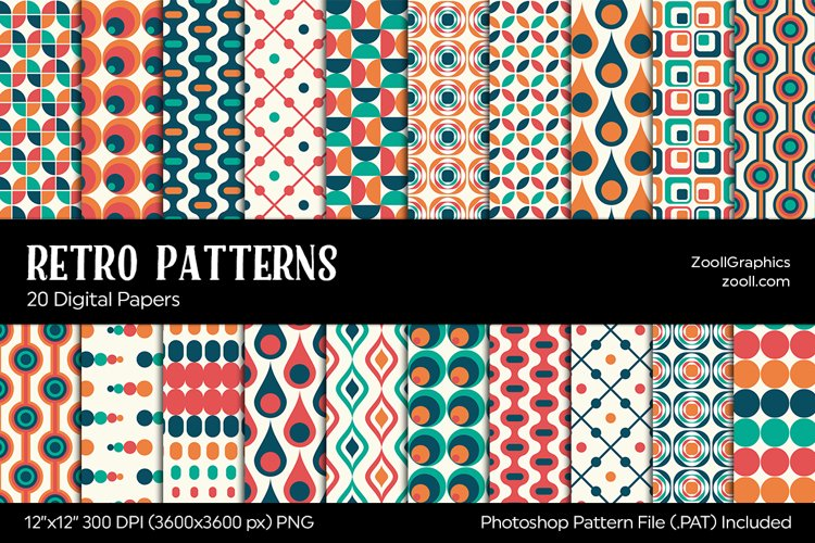Retro Patterns Digital Papers