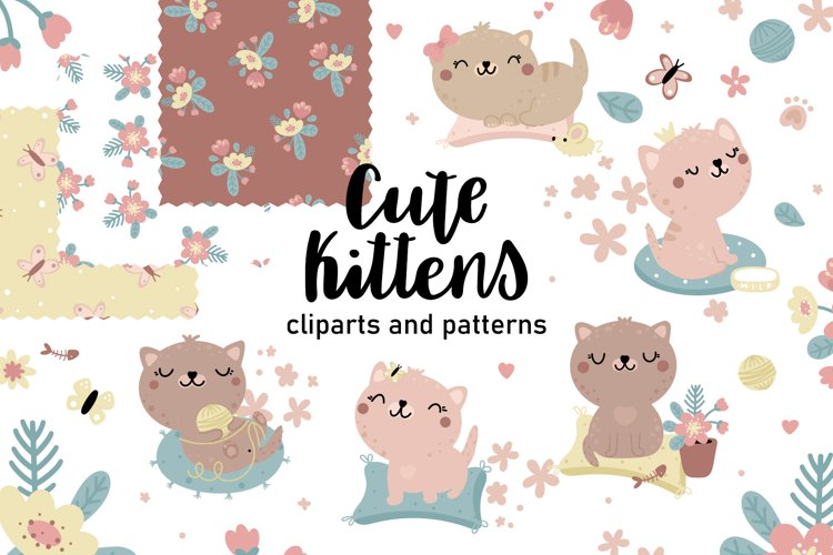 Cute kitten clipart and patterns example image 1