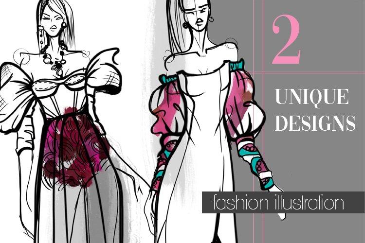 Fashion Illustrations Unique Designs Clipart Sketching