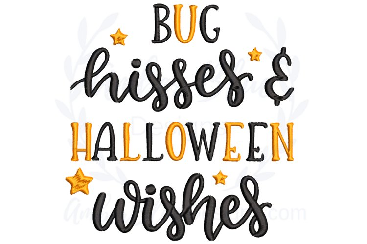 Bug Hisses & Halloween Wishes Embroidery File example image 1