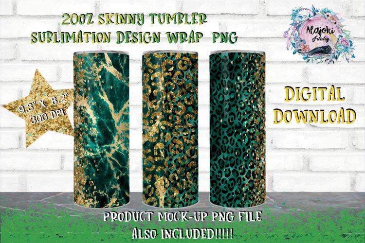 Emerald Leopard 20oz Sublimation skinny tumbler wrap Design example image 1