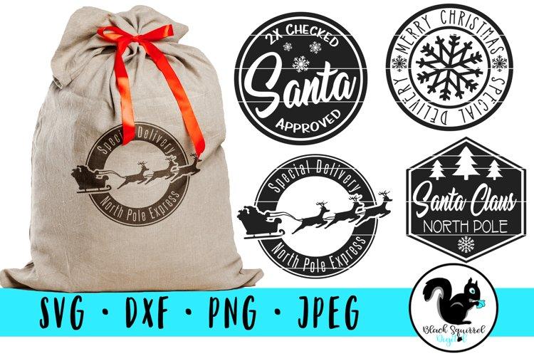 Christmas Stamp SVG , Santa Sack Clipart, North Pole Express example image 1