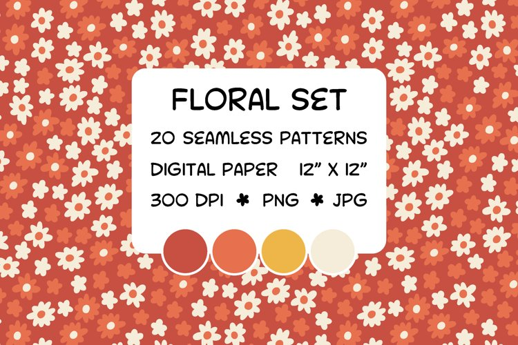 Floral set - seamless patterns - digital paper