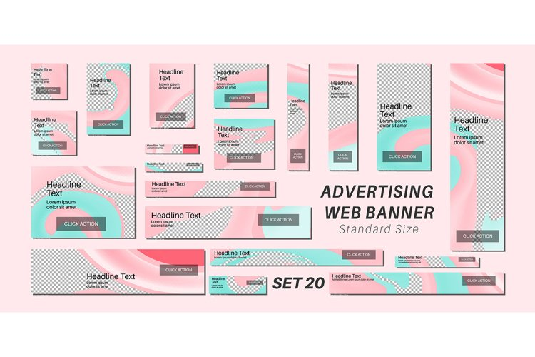 Vector background advertising banner with standard size example image 1