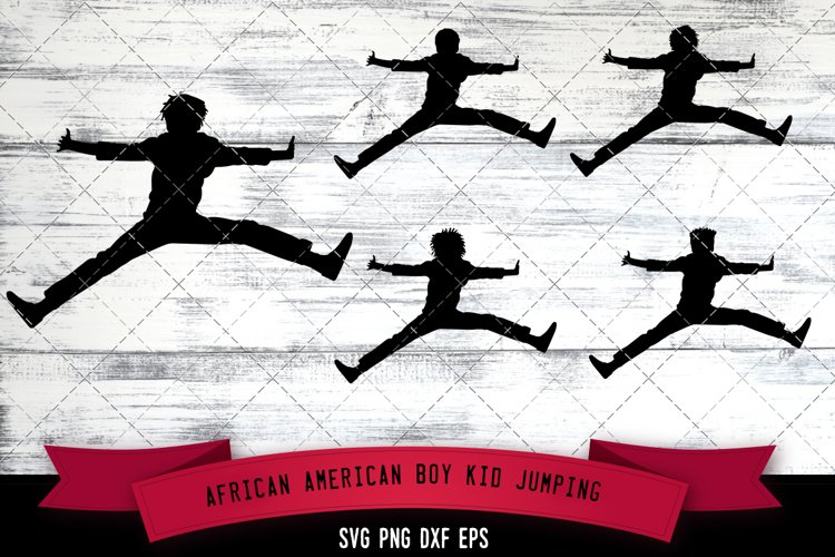 African American Boy Kid Jumping Silhouette SVG example image 1