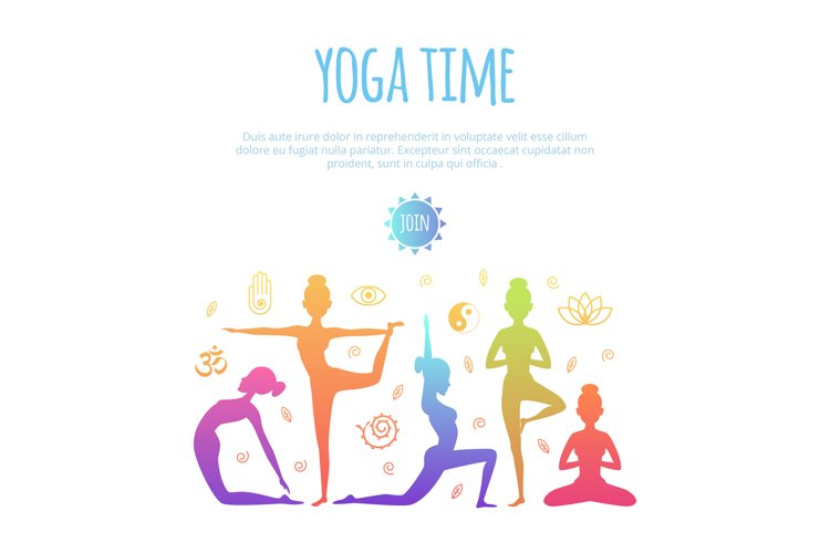 Fitness illustrations with different people making yoga prac example image 1