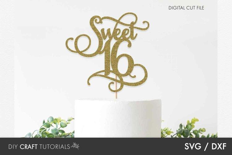Cake Topper SVG, Happy Birthday SVG, 16th Birthday SVG example image 1