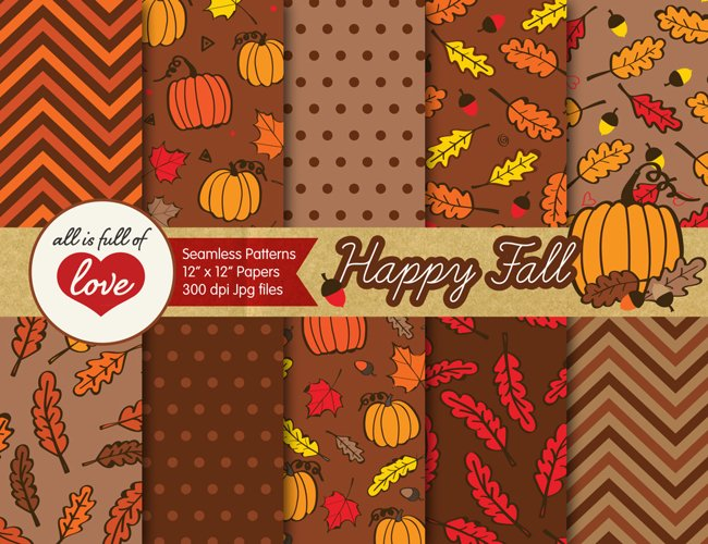 Brown Fall Digital Paper Autumn Background Patterns with acorns, leafs and pumpkins example image 1