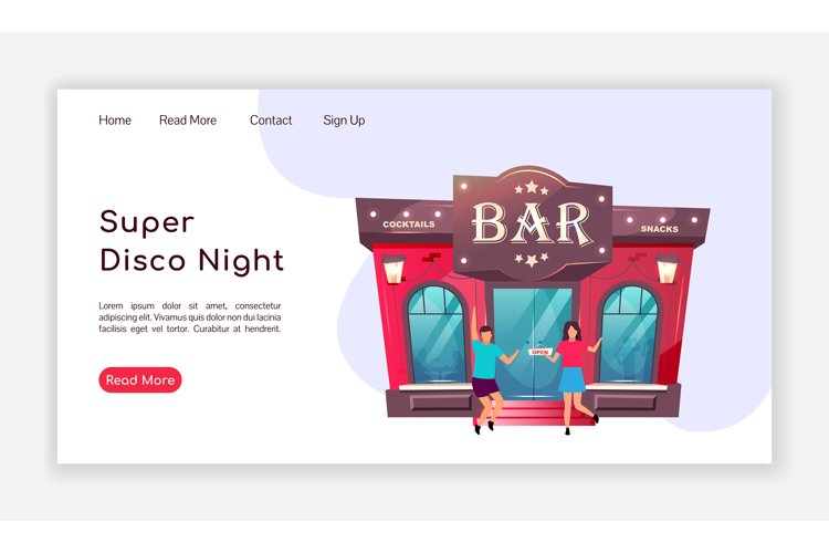 Super disco night landing page flat color vector template example image 1