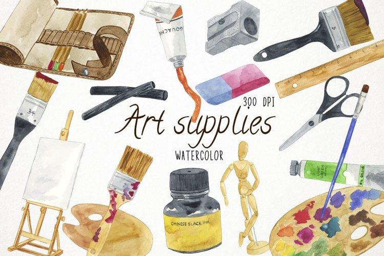 Watercolor Art Supplies Clipart, Art Supplies Clip Art