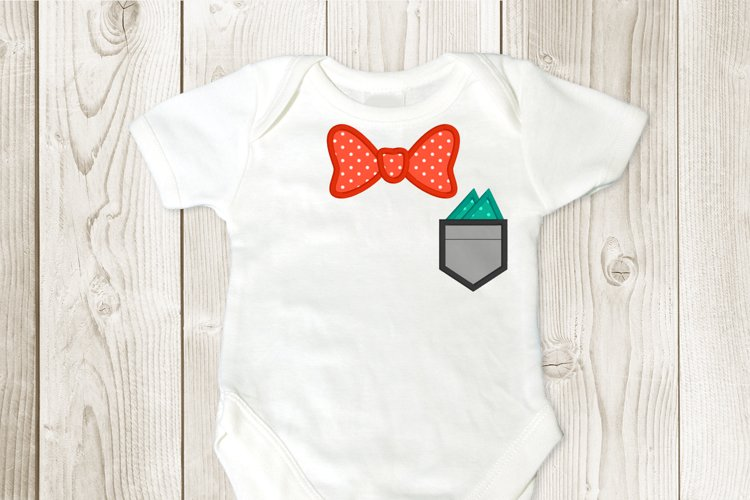 Bow Tie and Pocket Applique Embroidery Design