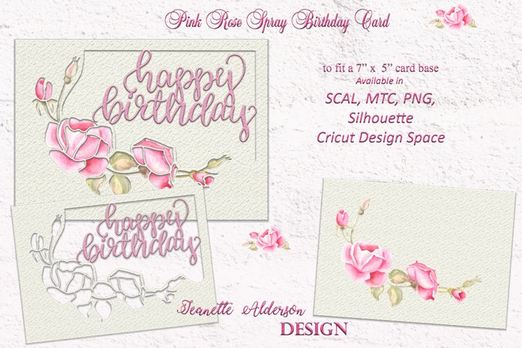 Pink Rose spray Happy Birthday card cutting file example image 1