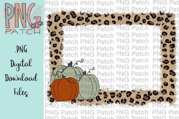 Torn Edge Leopard Print Frame with Pumpkins, Fall PNG File example image 1