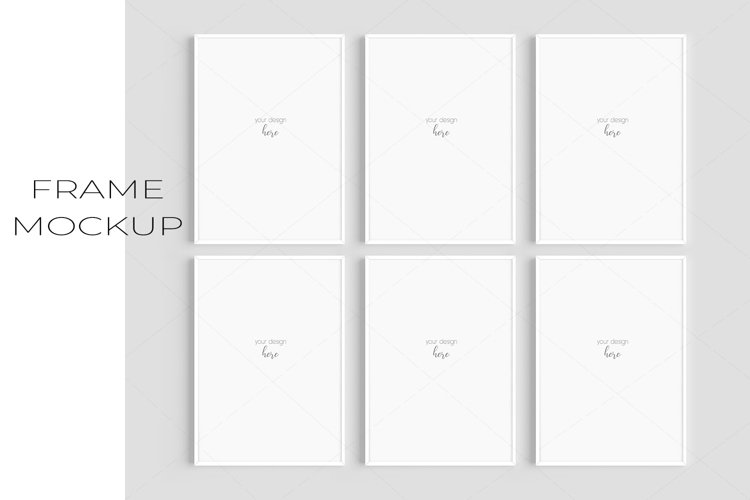 A4 White Frame Mockup Set of 6/JPG PNG PSD Smart Object/M134 example image 1